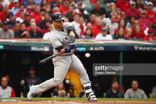 Gary Sanchez of the New York Yankees hits a tworun home run in the first inning against the Cleveland Indians with during game two of the American...