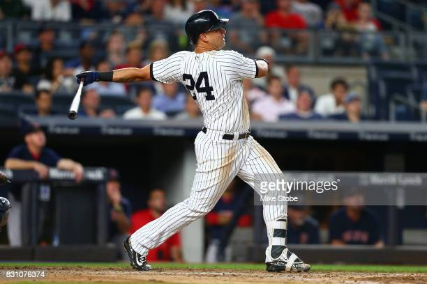 Gary Sanchez of the New York Yankees in action against the Boston Red Sox at Yankee Stadium on August 11 2017 in the Bronx borough of New York City...