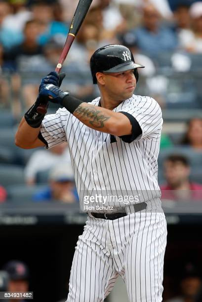 Gary Sanchez of the New York Yankees in action against the Boston Red Sox during a game at Yankee Stadium on August 12 2017 in the Bronx borough of...