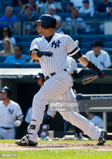 Gary Sanchez of the New York Yankees in action against the Kansas City Royals at Yankee Stadium on September 25 2017 in the Bronx borough of New York...