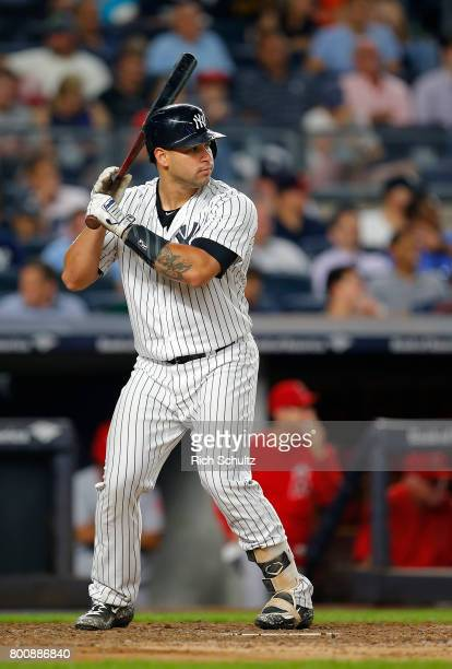 Gary Sanchez of the New York Yankees in action against the Los Angeles Angels of Anaheim during a game at Yankee Stadium on June 22 2017 in New York...