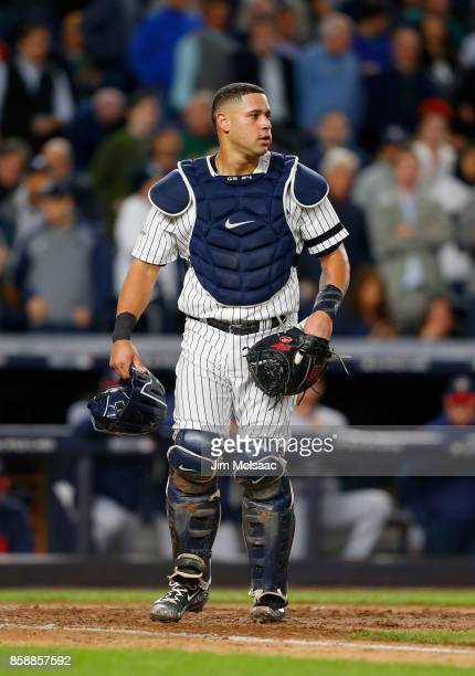 Gary Sanchez of the New York Yankees in action against the Minnesota Twins in the American League Wild Card Game at Yankee Stadium on October 3 2017...