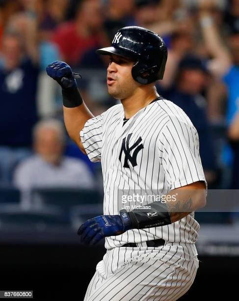 Gary Sanchez of the New York Yankees in action against the New York Mets at Yankee Stadium on August 14 2017 in the Bronx borough of New York City...
