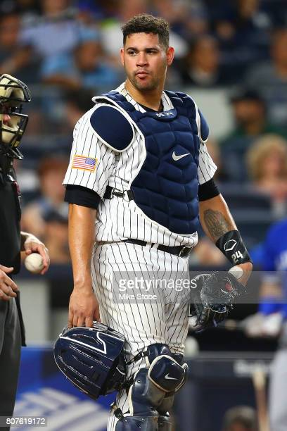 Gary Sanchez of the New York Yankees in action against the Toronto Blue Jays at Yankee Stadium on July 3 2017 in the Bronx borough of New York City...