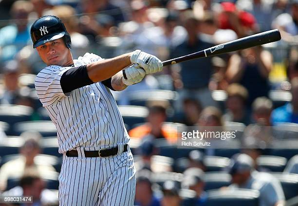 Gary Sanchez of the New York Yankees in action during a game against Baltimore Orioles at Yankee Stadium on August 28 2016 in the Bronx borough of...