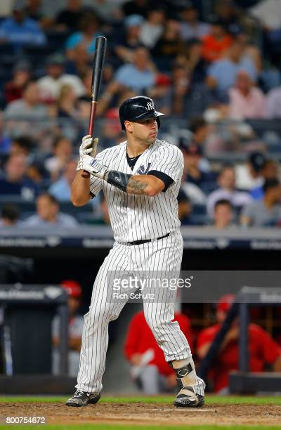 Gary Sanchez of the New York Yankees in action during a game against the Los Angeles Angels of Anaheim at Yankee Stadium on June 22 2017 in New York...