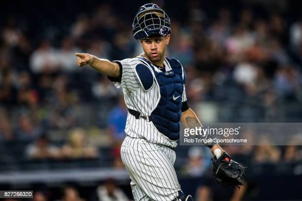 Gary Sanchez of the New York Yankees looks on during the game against the Detroit Tigers at Yankee Stadium on July 31 2017 in the Bronx borough of...