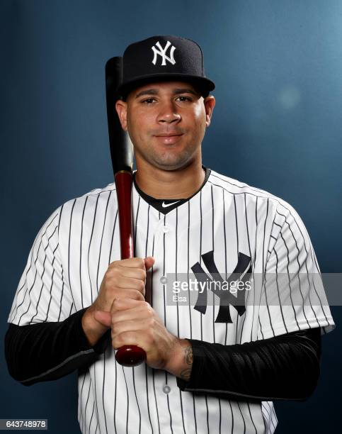 Gary Sanchez of the New York Yankees poses for a portrait during the New York Yankees photo day on February 21 2017 at George M Steinbrenner Field in...
