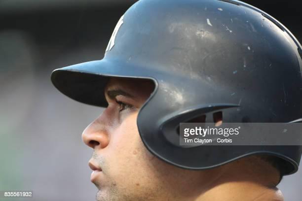 Gary Sanchez of the New York Yankees preparing to bat during the New York Yankees Vs New York Mets regular season MLB game at Citi Field on August 16...