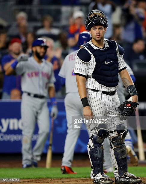 Gary Sanchez of the New York Yankees reacts after Dominic Smith of the New York Mets hit a two run home run in the seventh inning during interleague...