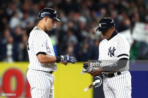 Gary Sanchez of the New York Yankees reacts after hitting a tworun goahead double during the eighth inning against the Houston Astros in Game Four of...