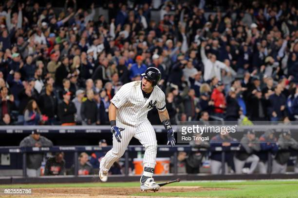 Gary Sanchez of the New York Yankees reacts to hitting an RBI double in the eighth inning during Game 4 of the American League Championship Series...