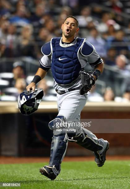 Gary Sanchez of the New York Yankees reacts while walking back to the dugout during the game against the Tampa Bay Rays at Citi Field on Monday...