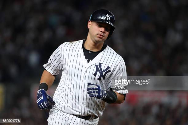 Gary Sanchez of the New York Yankees rounds the bases after a solo home run during the seventh inning against the Houston Astros in Game Five of the...