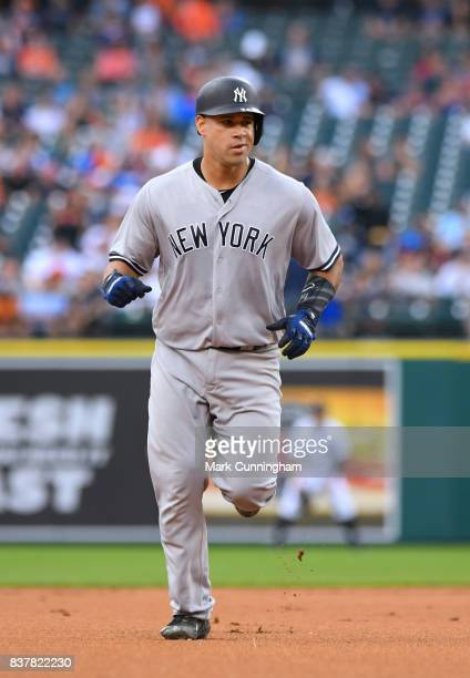 Gary Sanchez of the New York Yankees runs the bases after hitting a tworun home run in the first inning of the game against the Detroit Tigers at...