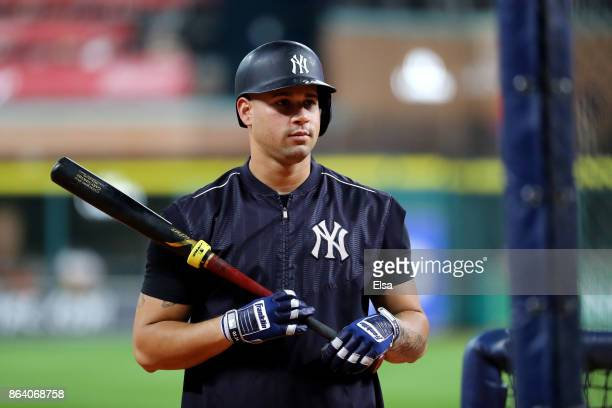 Gary Sanchez of the New York Yankees takes batting practice prior to Game Six of the American League Championship Series against the Houston Astros...