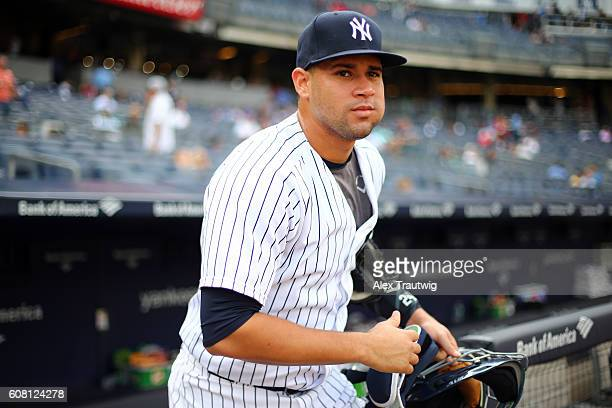 Gary Sanchez of the New York Yankees takes the field prior to the start of the game against the Los Angeles Dodgers at Yankee Stadium on Wednesday...