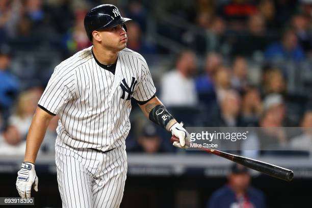 Gary Sanchez of the New York Yankees watches his second home run of the game against the Boston Red Sox in the fifth inning at Yankee Stadium on June...