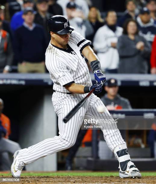 Gary Sanchez puts the New York Yankees up for good with an eighthinning tworun double against the Houston Astros in Game 4 of the American League...