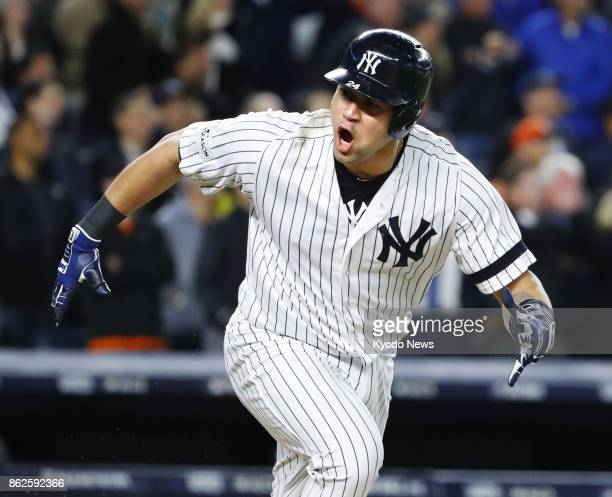 Gary Sanchez roars after hitting a gamewinning tworun double in the eighth inning in Game 4 of the American League Championship Series on Oct 17 at...