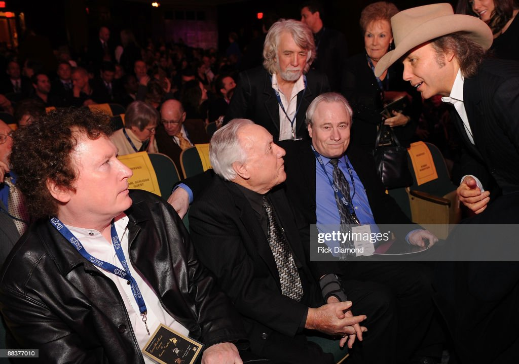 Gary Scruggs,Randy Scruggs, Earl Scruggs, Gary Scruggs John McEuen of The Nitty Gritty Dirt Band and Dwight Yoakam chat at The 50th Annual Grammy Awards, Special Merit Awards Cermony held at The Wilshire - Ebell Theater in Los Angeles California on February 9, 2008