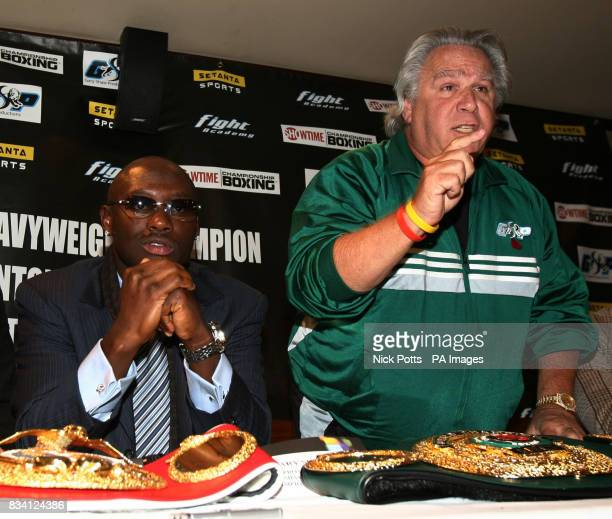 Gary Shaw Manager for American boxer Antonio Tarver involved in heated exchange with Ambrose Mendy during a press conference at The Casino at the...