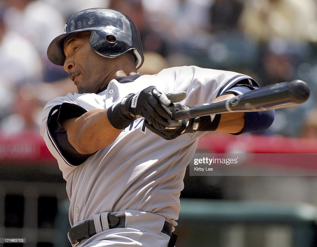 Gary Sheffield of the New York Yankees bats during their 10-1 win over the Los Angeles Angels of Anaheim at Angel Stadium in Anaheim, Calif. on Sunday, April 9, 2006.