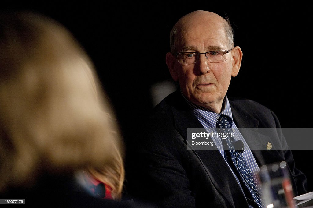 A. Gary Shilling, president of A. Gary Shilling & Co. Inc., listens during a portfolio manager conference in New York, U.S., on Thursday, Feb. 16, 2012. The conference convenes top portfolio managers to discuss the key issues that will impact markets this year, including the outlook for sovereign and municipal debt and opportunities in emerging markets such as China. Photographer: Scott Eells/Bloomberg via Getty Images