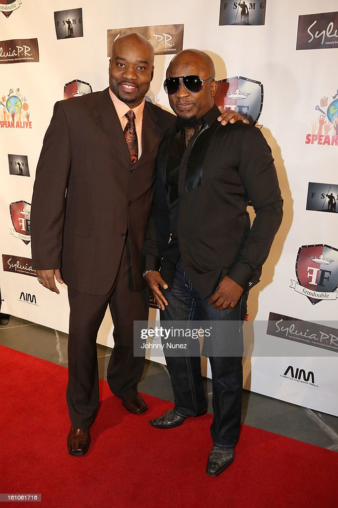 Gary 'Silky' Davis and Femi Ojetunde attend the Femdouble Producers Choice Honorees Gala at Bel Air Ship Mansion on February 8, 2013 in Belair, California.
