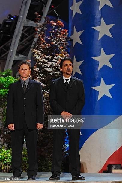 Gary Sinise and Joe Mantegna attend the PBS's 2011 National Memorial Day concert dress rehearsal on Capitol Hill on May 28 2011 in Washington DC
