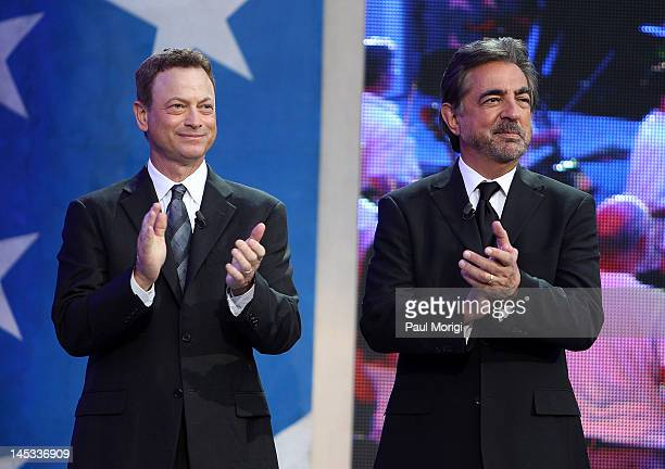Gary Sinise and Joe Mantegna on stage at the 2012 PBS National Memorial Day Concert rehearsal at the US Capitol on May 26 2012 in Washington DC