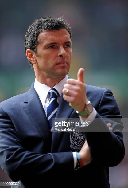 Gary Speed the manager of Wales gestures prior to kickoff during the UEFA EURO 2012 Group G qualifying match between Wales and England at the...