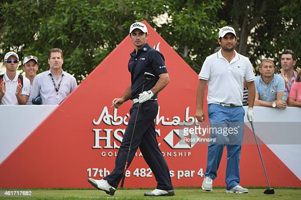 Gary Stal of France and Alexander Levy of France during the final round of the Abu Dhabi HSBC Golf Championship at the Abu Dhabi Golf Club on January...