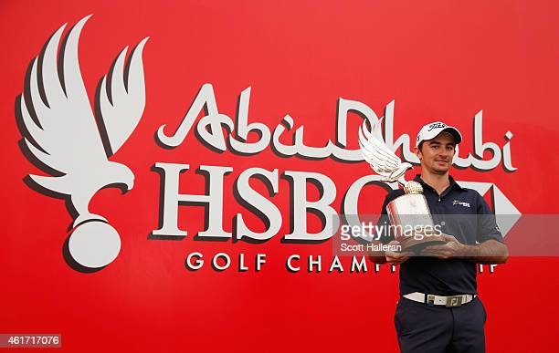 Gary Stal of France poses with the Falcon Trophy after winning the Abu Dhabi HSBC Golf Championship at the Abu Dhabi Golf Cub on January 18 2015 in...