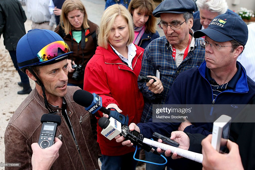 Gary Stevens (L) fields questions from the media after riding Oxbow during the morning excercise session in preparation for the 139th Kentucky Derby at Churchill Downs on April 29, 2013 in Louisville, Kentucky.