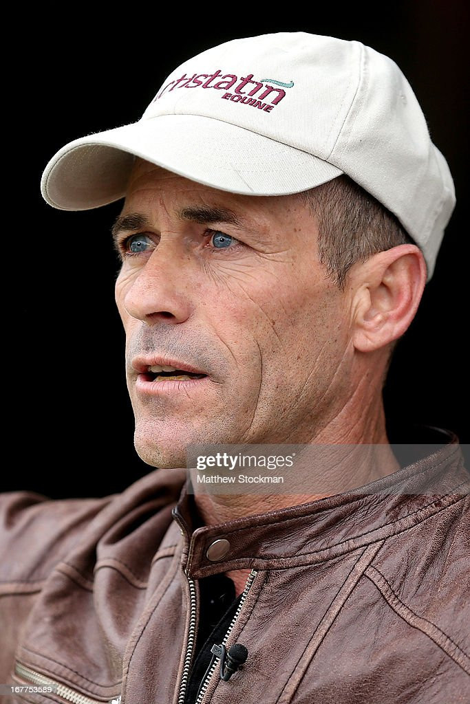 Gary Stevens fields questions from the media after riding Oxbow during the morning excercise session in preparation for the 139th Kentucky Derby at Churchill Downs on April 29, 2013 in Louisville, Kentucky.