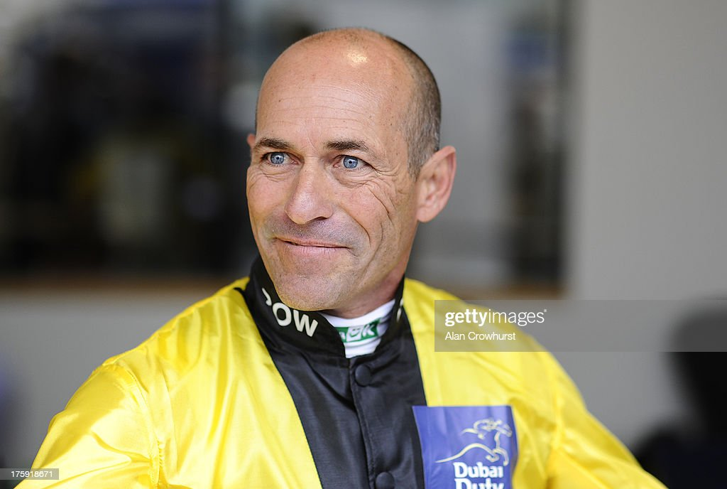 <a gi-track='captionPersonalityLinkClicked' href=/galleries/search?phrase=Gary+Stevens+-+Jockey&family=editorial&specificpeople=15617910 ng-click='$event.stopPropagation()'>Gary Stevens</a> poses at Ascot racecourse on August 10, 2013 in Ascot, England.
