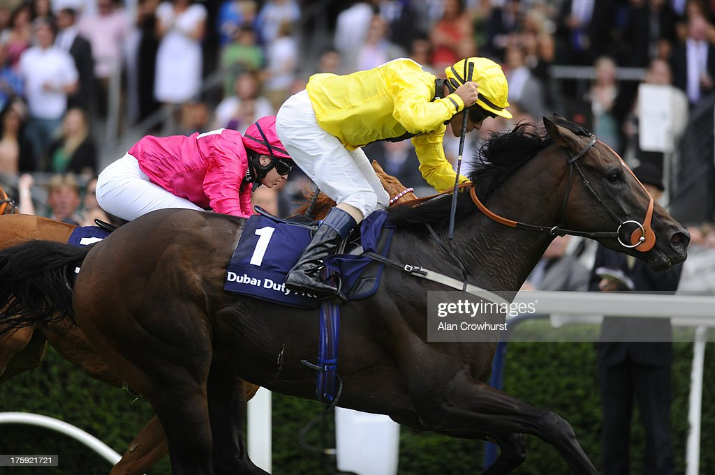 <a gi-track='captionPersonalityLinkClicked' href=/galleries/search?phrase=Gary+Stevens+-+Jockey&family=editorial&specificpeople=15617910 ng-click='$event.stopPropagation()'>Gary Stevens</a> riding Annunciation win The Dubai Duty Free Shergar Sprint Cup at Ascot racecourse on August 10, 2013 in Ascot, England.