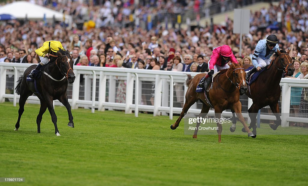 <a gi-track='captionPersonalityLinkClicked' href=/galleries/search?phrase=Gary+Stevens&family=editorial&specificpeople=214160 ng-click='$event.stopPropagation()'>Gary Stevens</a> riding Annunciation (L) win The Dubai Duty Free Shergar Sprint Cup at Ascot racecourse on August 10, 2013 in Ascot, England.