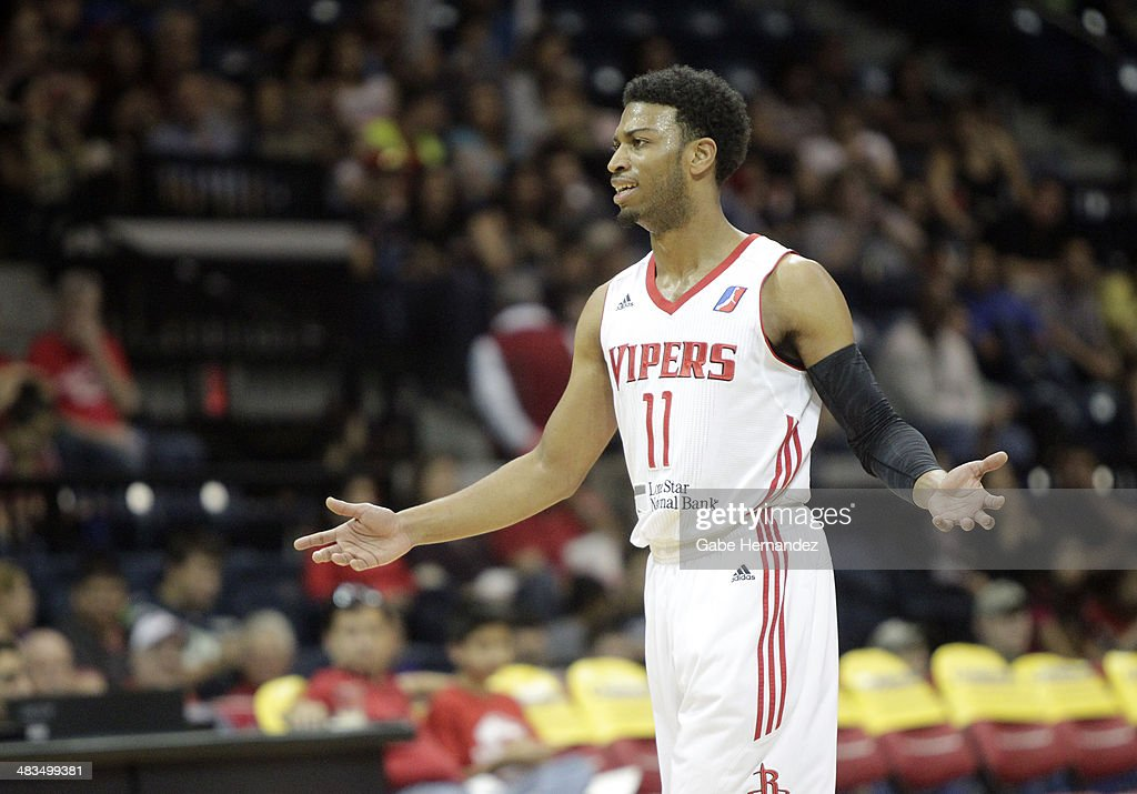 Gary Talton #11 of the Rio Grande Valley Vipers reacts after getting called for traveling against the Iowa Energy on April 8, 2014 during game one first round of the 2014 NBA-Development League playoffs at the State Farm Arena in Hidalgo, Texas.