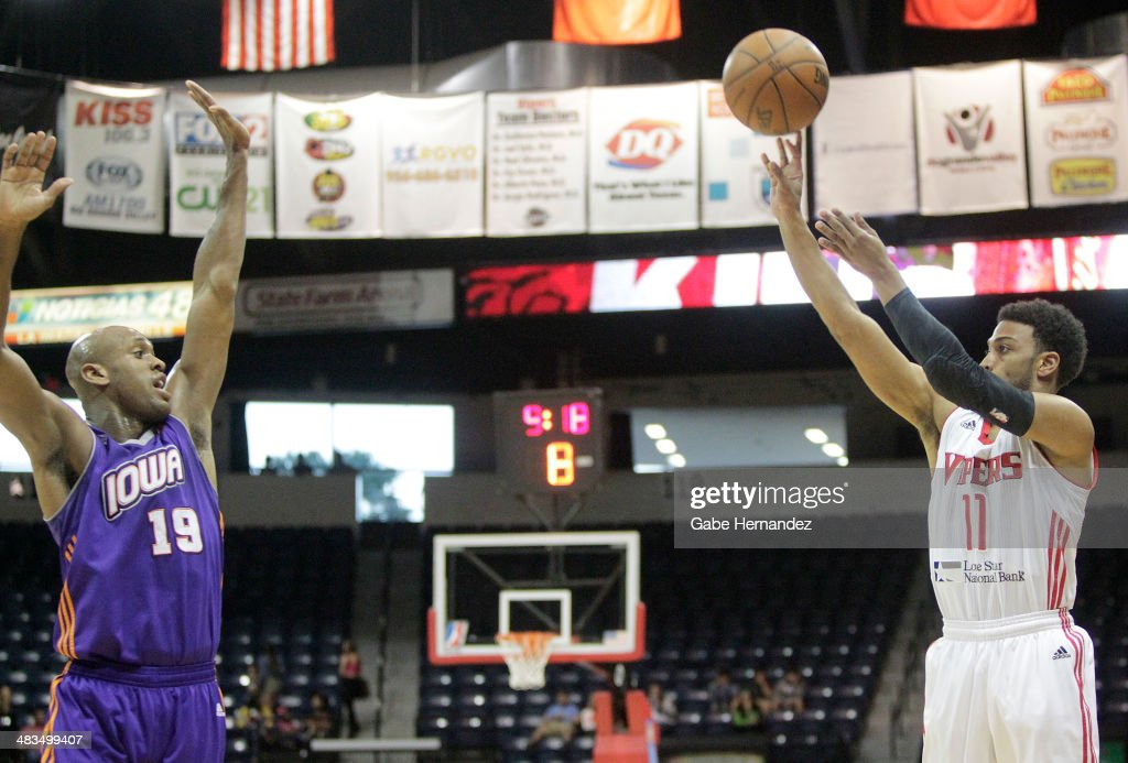 Gary Talton #11 of the Rio Grande Valley Vipers shoots over Patrick Christopher #19 of the Iowa Energy on April 8, 2014 during game one first round of the 2014 NBA-Development League playoffs at the State Farm Arena in Hidalgo, Texas.