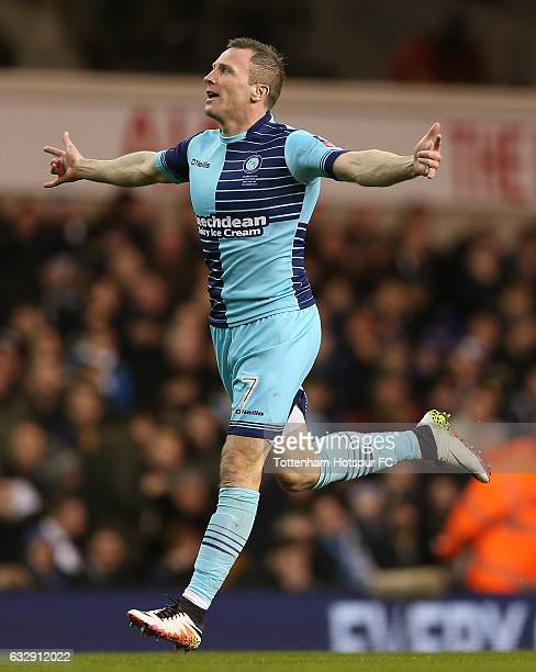 Gary Thompson of Wycombe Wanderers celebrates after scoring his sides third goal during the Emirates FA Cup Fourth Round match between Tottenham...