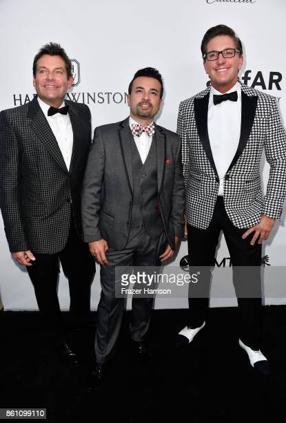 Gary Tigges Cyrus Hadjesmaili and Mitch Davis attend the amfAR Gala at Ron Burkle's Green Acres Estate on October 13 2017 in Beverly Hills California