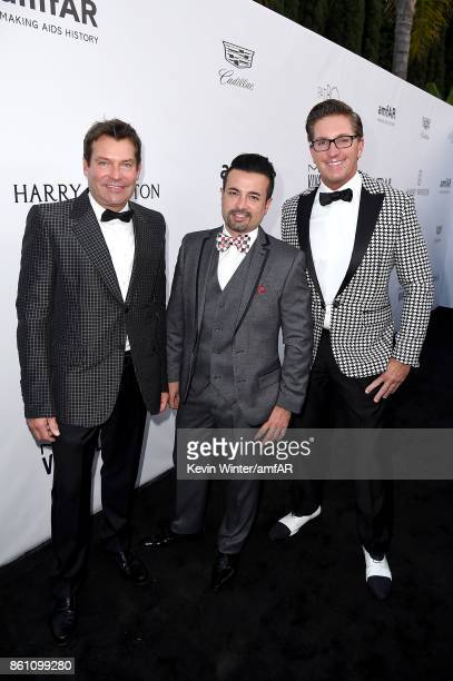 Gary Tigges Cyrus Hadjesmaili and Mitch Davis attend the amfAR Gala Los Angeles 2017 at Ron Burkle's Green Acres Estate on October 13 2017 in Beverly...