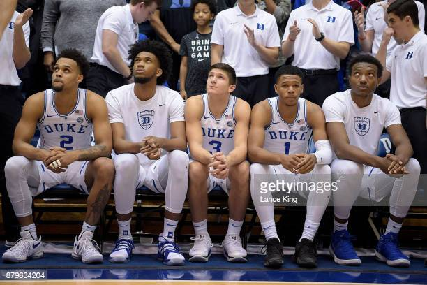 Gary Trent Jr #2 Marvin Bagley III Grayson Allen Trevon Duval and Wendell Carter Jr #34 of the Duke Blue Devils watch the scoreboard during player...