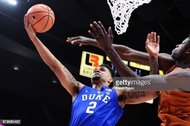 Gary Trent Jr of the Duke Blue Devils scores late during the second half of the game against the Texas Longhorns during the PK80Phil Knight...
