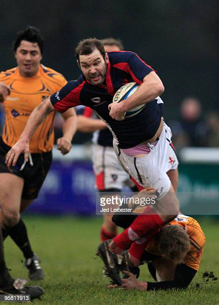 Gary Trueman of London Scottish is tackled by Sam Stitcher of Esher Rugby to reveal his pink pants during the National League Division One match...