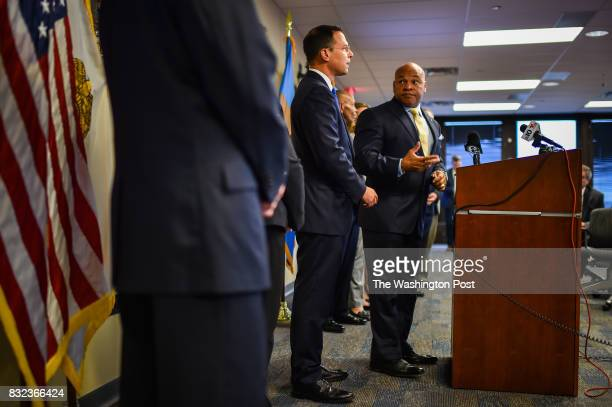 Gary Tuggle Special Agent in Charge U S Drug Enforcement Administration Philadelphia Division center right and Josh Shapiro Attorney General of...
