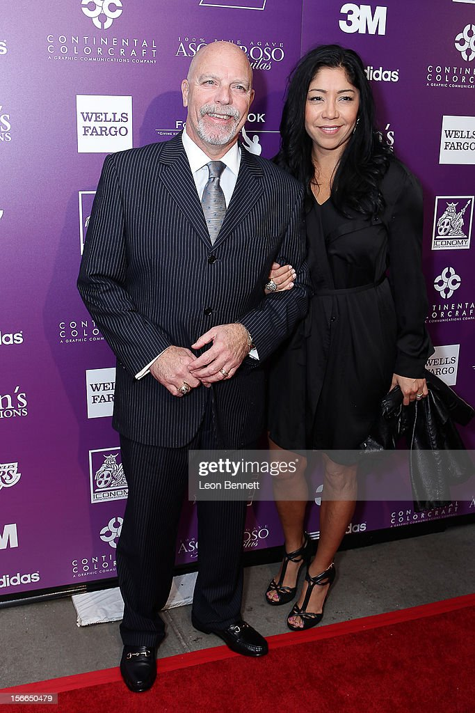 <a gi-track='captionPersonalityLinkClicked' href=/galleries/search?phrase=Gary+Vitti&family=editorial&specificpeople=223958 ng-click='$event.stopPropagation()'>Gary Vitti</a> and guest arrives at the Kareem Abdul-Jabbar Celebrity Roast Hosted By George Lopez at JW Marriott Los Angeles at L.A. LIVE on November 17, 2012 in Los Angeles, California.