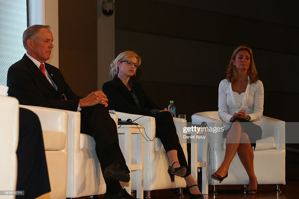 Gary W. Hall, Executive Director of World Fit Foundation, Lisa MacCallum, Vice-President of Access to Sport, Nike, Inc and Kelly Murumets, President & CEO of ParticipACTION during the Plenary Session #3 on sports associations as part of the closing day of the 15th IOC World Conference Sports For All at the Daniel A. Carrion Conference Center on April 27, 2013 in Lima, Peru.